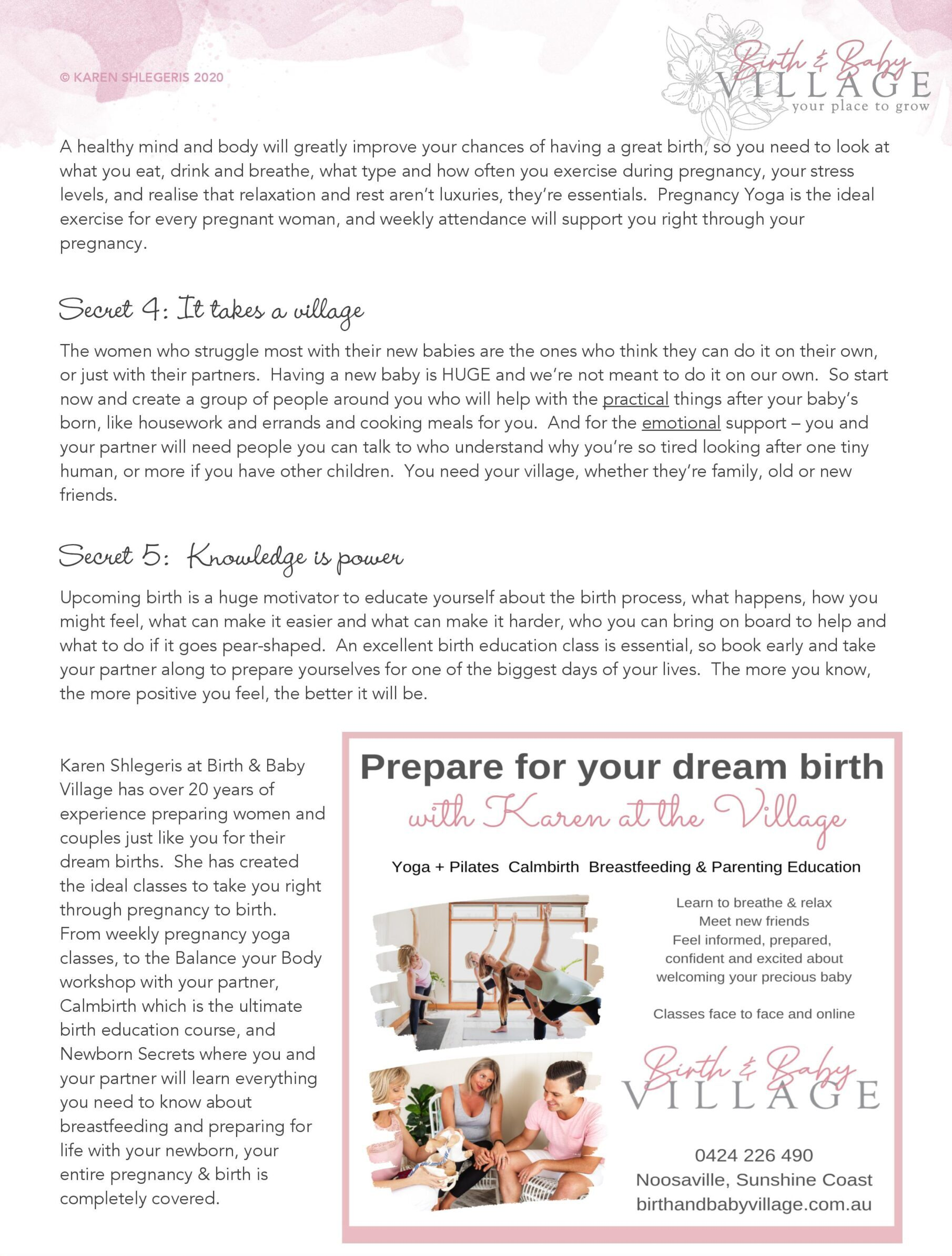 5 Secrets to the birth of your dreams